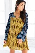 Patrons Of Peace Print-Mix Bell-Sleeve Mini Dress