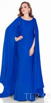 Terani Couture Crepe Satin Fit and Flare Cape Gown