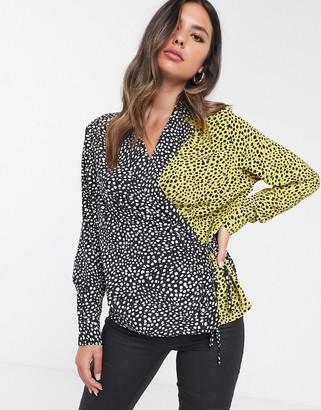 UNIQUE21 wrap contrast animal print blouse