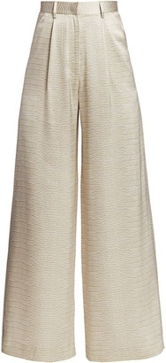 Adriana Iglesias Ginger Silk Snakeskin-Print Full-Leg Pants