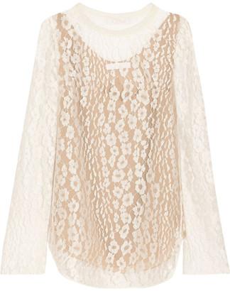 Chloé Cotton-blend Tulle-trimmed Lace Blouse