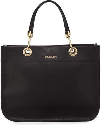 Calvin Klein Sandra Leather Satchel Tote Bag