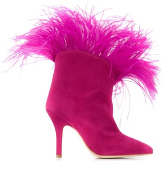 Paris Texas Feather Detail Ankle Boots