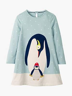 Boden Mini Girls' Penguin Appliqué Jersey Dress, Cloudburst Blue