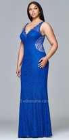 Faviana Lace V-Neck Rhinestone Plus Size Evening Dress