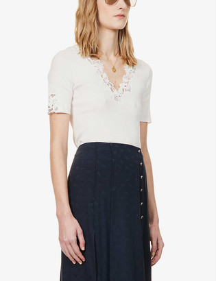 Chloé Floral-embroidered V-neck cotton-knit top