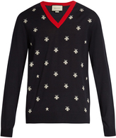 Gucci Bee-jacquard V-neck wool sweater