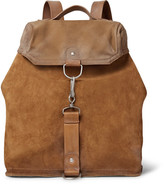 Maison Margiela Distressed Suede, Leather and Canvas Backpack