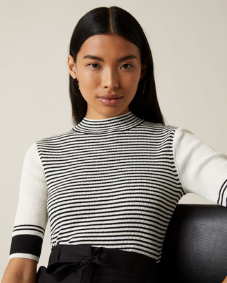 Jigsaw Striped Rib Short Sleeve Jumper