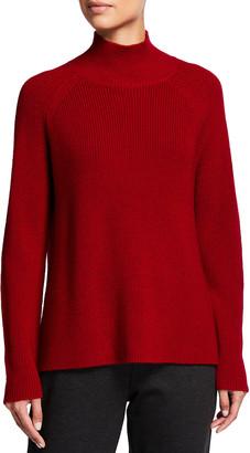 Eileen Fisher Plus Size Turtleneck Raglan-Sleeve Wool Sweater