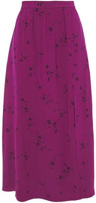 Joie Gathered Printed Cady Midi Skirt
