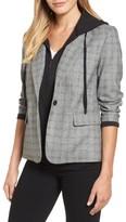 Kenneth Cole New York Women's Menswear Removable Hood Plaid Blazer