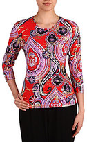 Allison Daley Crew-Neck 3/4 Sleeve Printed Knit Top