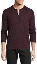 John Varvatos Eyelet Burnout Henley T-Shirt, Oxblood