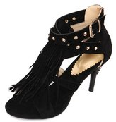 ENMAYER Women's Fringed High Heels Ankle High Pumps with Rivets and Zipper for Spring and Summer 4 B(M) US