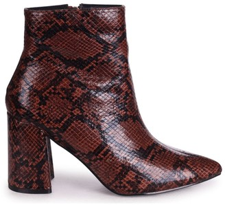 Linzi ALICE - Brown Snake Block Heeled Boot With Pointed Toe