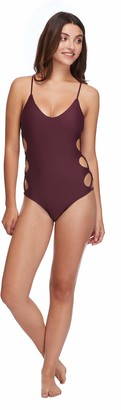 Body Glove Women's Smoothies Crissy Solid One Piece Swimsuit with Strappy Side Detail