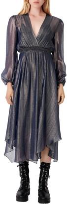 Maje Metallic Plisse Long Sleeve Midi Dress