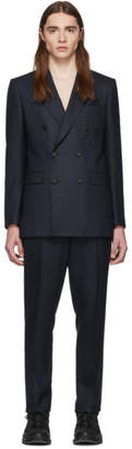 Burberry Navy Wool Cashmere Double-Breasted Suit
