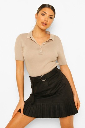 boohoo Faux Suede Belted Pleated Mini Skirt