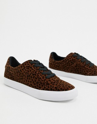 ASOS DESIGN Dandy lace up trainers in leopard