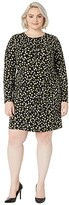 MICHAEL Michael Kors Size Tossed Lilies Ruffle Dress (Black/Bright Dandelion) Women's Clothing