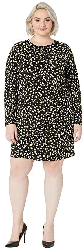 MICHAEL Michael Kors Size Tossed Lilies Ruffle Dress (Black/Bright Dandelion) Women's Clothing