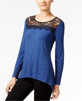 NY Collection Petite Lace-Neck Handkerchief-Hem Top