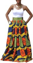 U-WARDROB African Digital Printing Flower Maxi Skirts Pleated Skirt for Women
