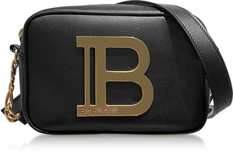 Balmain Black Leather w/Golden Logo 18 B-Camera bag