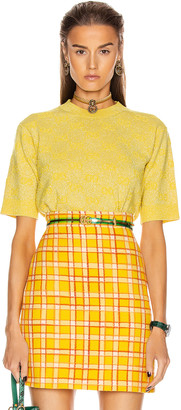 Gucci Short Sleeve Crew Neck Top in Yellow & Multicolor | FWRD