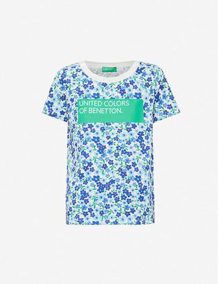 Benetton Floral-print cotton-jersey T-shirt