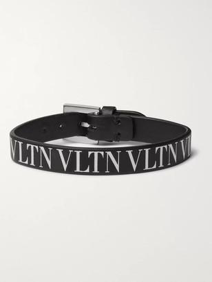 Valentino Logo-Print Leather Bracelet