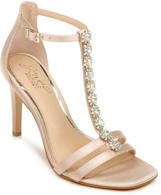 Badgley Mischka Farida Crystal Embellished T-Strap Sandal