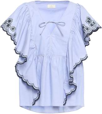 Kate Spade Scalloped Ruffled Embroidered Cotton-chambray Blouse