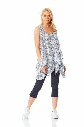 Roman Originals Women Sleeveless Crinkle Tunic Top - Ladies Casual Everyday Spring Summer Holiday Beach Travel Round Neck Waterfall Front Printed Flowy Longline Tunic Tops - Ivory - Size 12