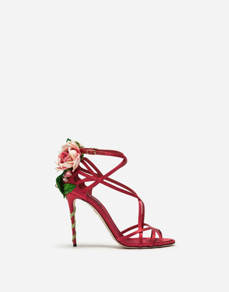 Dolce & Gabbana Satin Sandals With Embroidery