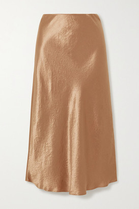 Max Mara Leisure Washed-satin Midi Skirt - Gold