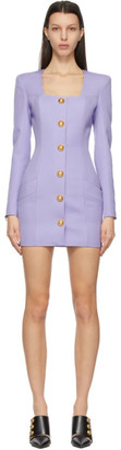Balmain Purple Wool Button Dress