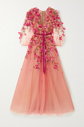 Marchesa Velvet-trimmed Embellished Embroidered Ombre Tulle Gown - Pink