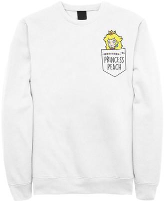 Nintendo Men's Super Mario Princess Peach Pocket Left Chest Sweatshirt