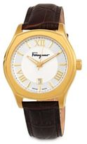 Salvatore Ferragamo Embossed Leather Strap Watch
