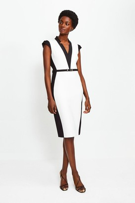 Karen Millen Cap Sleeve Colour Block Pencil Dress
