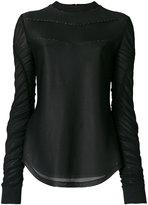 Versus embellished ruched sleeve top