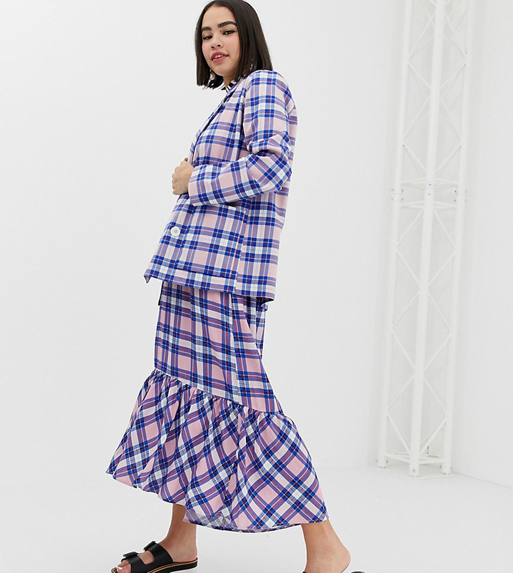 Monki midi skirt with tartan print in pink co