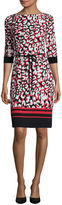 Liz Claiborne 3/4-Sleeve Abstract Animal Print Shift Dress