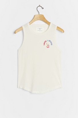 Sol Angeles Love & Peace Graphic Tank By in White Size XS