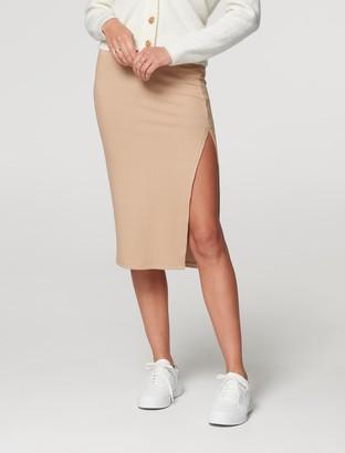 Forever New Celeste Rib Midi Skirt - Camel - xxs