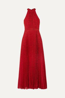 Alice + Olivia Kelissa Pleated Leopard-print Voile Halterneck Maxi Dress - Red
