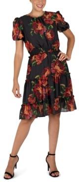 Julia Jordan Floral-Print Puff-Sleeve Fit & Flare Dress